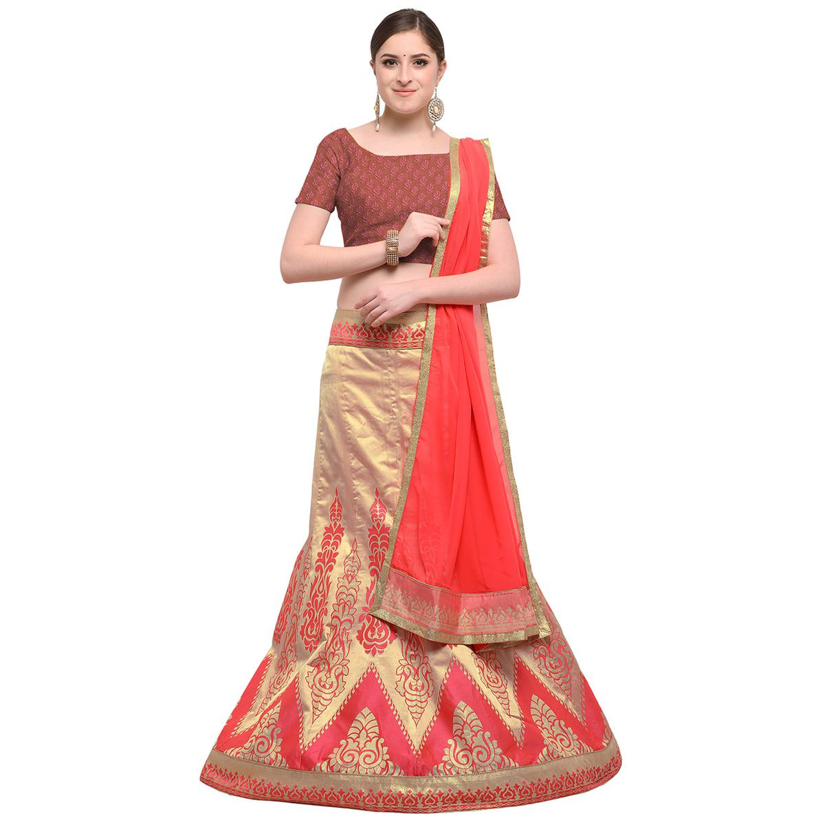 d301027ac9 Buy Pink Colored Banarasi Work Jacquard Silk Lehenga Choli Online India,  Best Prices, Reviews - Peachmode