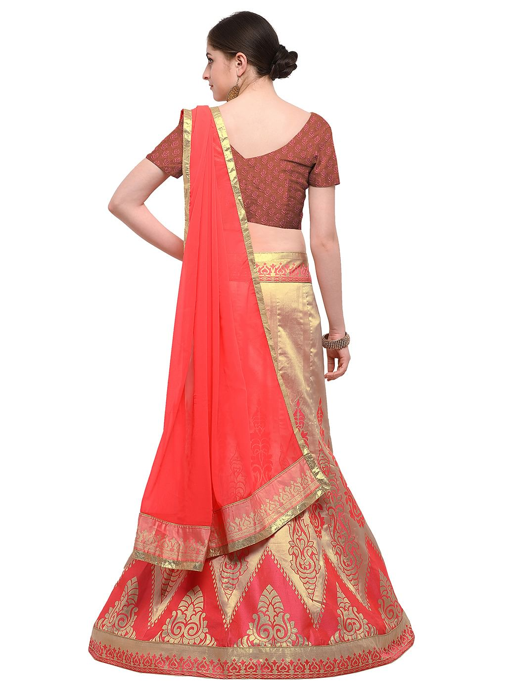 b7be9446af Buy Pink Colored Banarasi Work Jacquard Silk Lehenga Choli Online ...
