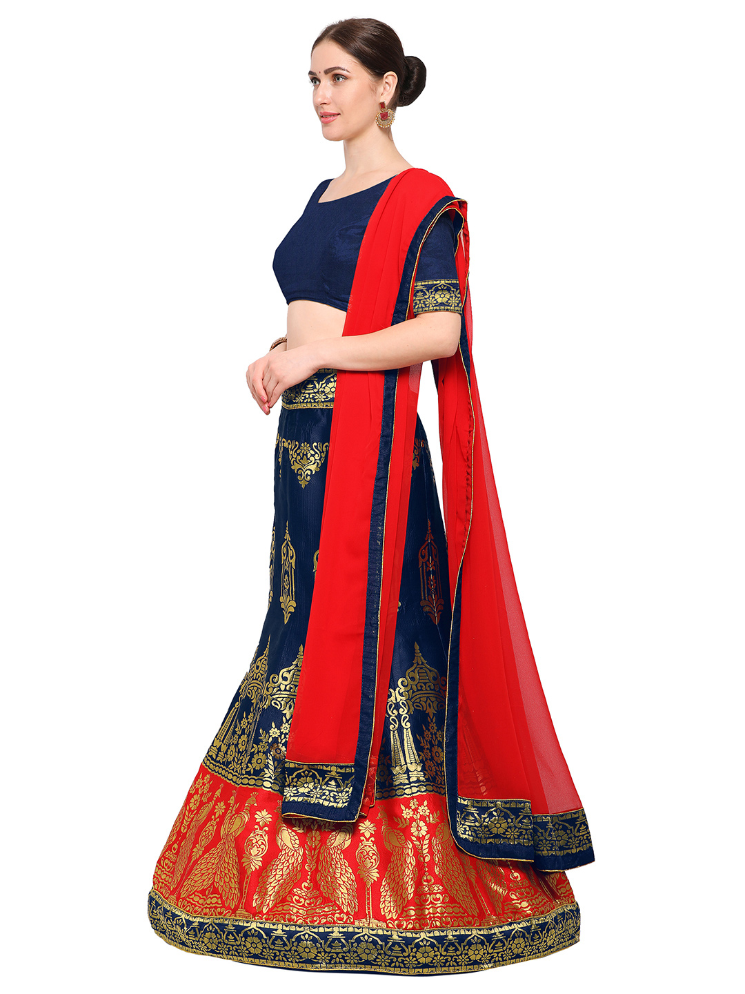 af5be4261d Buy Navy Blue-Red Colored Banarasi Work Jacquard Silk Lehenga Choli Online  India, Best Prices, Reviews - Peachmode