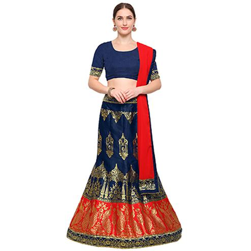 Navy Blue-Red Colored Banarasi Work Jacquard Silk Lehenga Choli