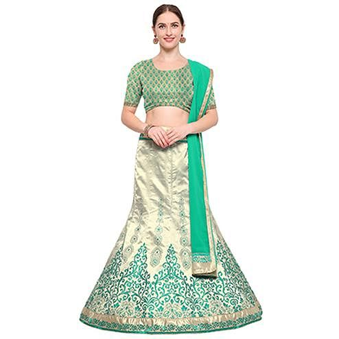 Turquoise Green Colored Banarasi Work Jacquard Silk Lehenga Choli