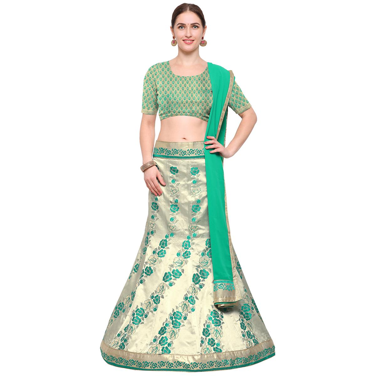 Green Colored Banarasi Work Jacquard Silk Lehenga Choli