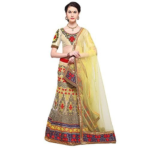 Cream Colored Embroidered Bangalori Silk Lehenga Choli