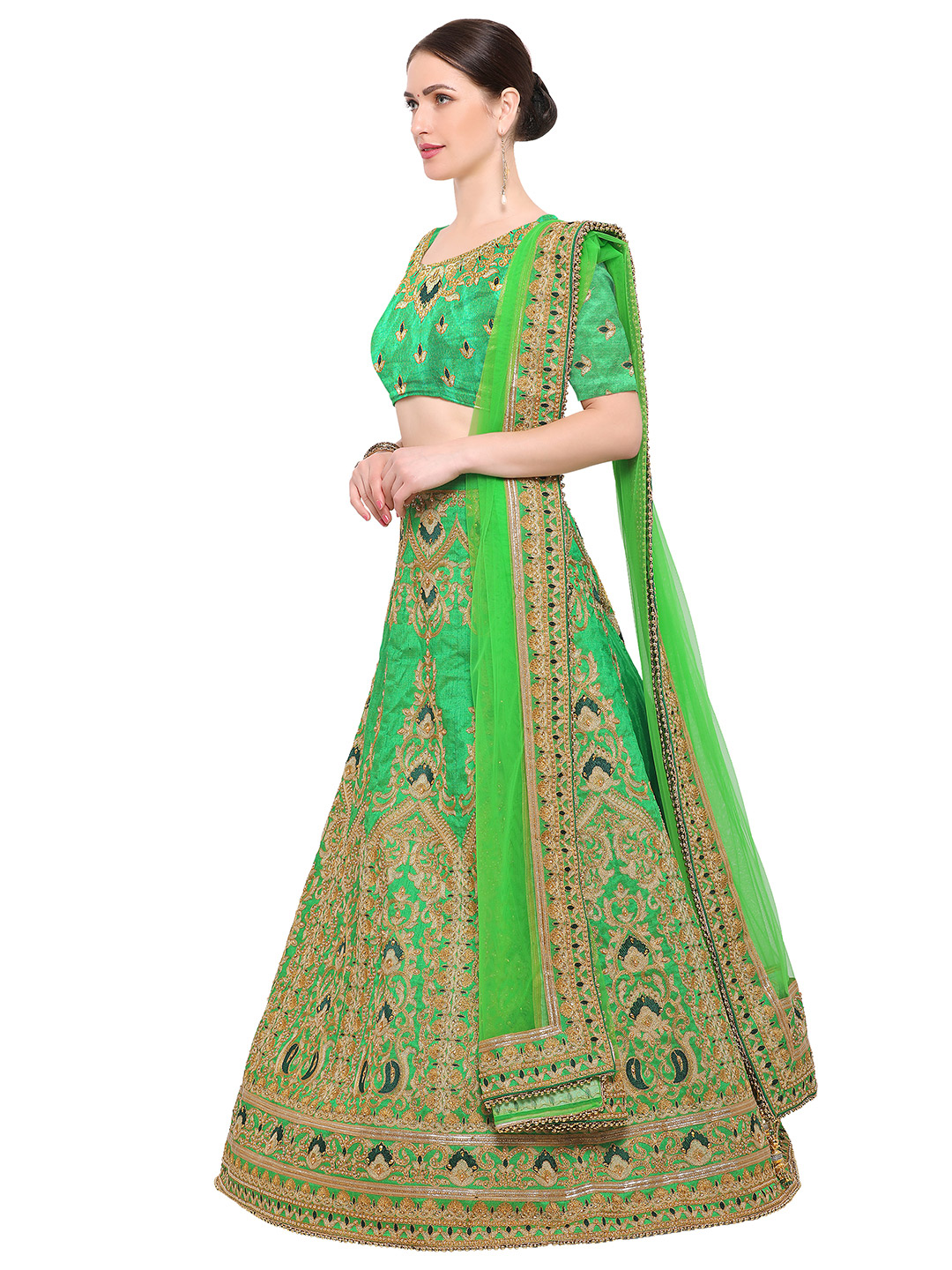 Green Colored Embroidered Bhagalpuri Silk Lehenga Choli
