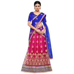 Pink-Royal Blue Colored Net Embroidered Bhagalpuri Silk Lehenga Choli