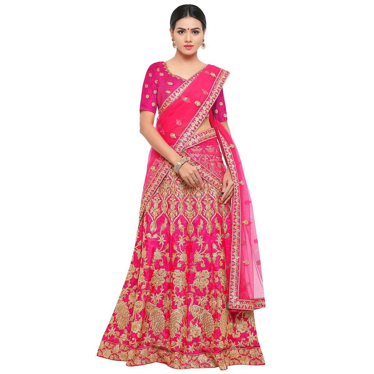 e652c88e53 Buy Hot Pink Colored Embroidered Bhagalpuri Silk Lehenga Choli Online  India, Best Prices, Reviews - Peachmode