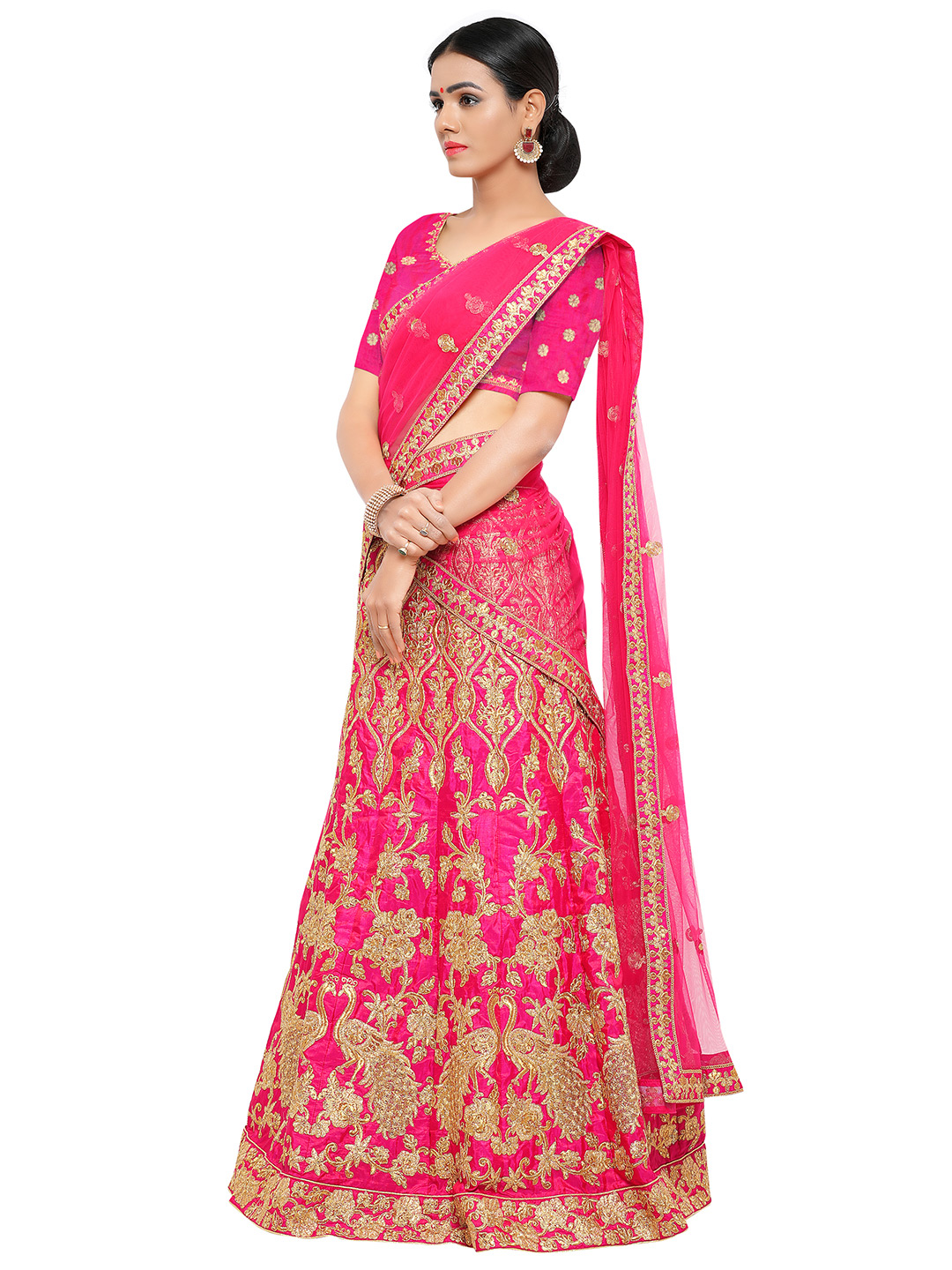 Hot Pink Colored Embroidered Bhagalpuri Silk Lehenga Choli