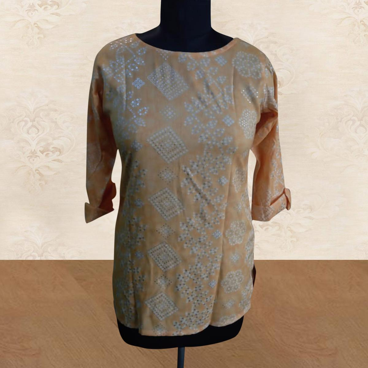 Yellow Casual Wear Printed Cotton Top