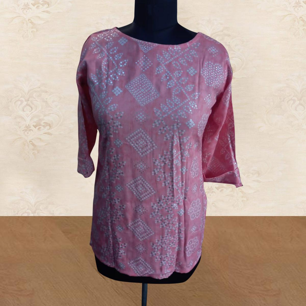 Pink Casual Wear Printed Cotton Top