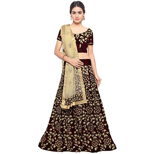 Maroon Colored Embroidered Velvet Lehenga Choli