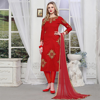 Sensational Red Colored Embroidered Party Wear Cotton Salwar Suit