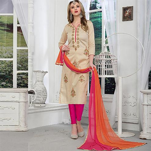 Pleasant Cream Colored Embroidered Party Wear Cotton Salwar Suit