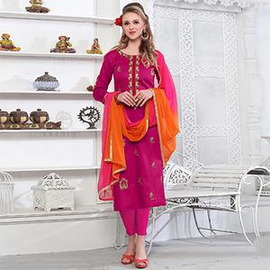 Pretty Pink Colored Embroidered Party Wear Cotton Salwar Suit