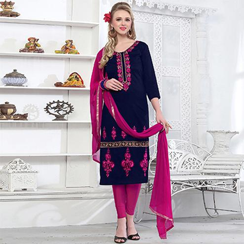 Refreshing Navy Blue Colored Embroidered Party Wear Cotton Salwar Suit