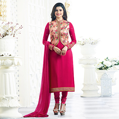 Pink Georgette Suit with Jacket