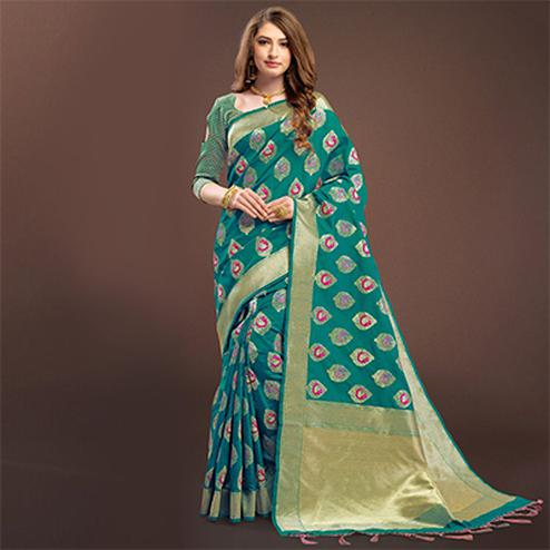 Rich Teal Colored Designer Festive Wear Woven Banarasi Silk Saree