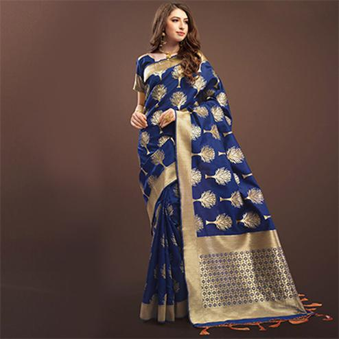 Perfect Navy Blue Colored Designer Festive Wear Woven Banarasi Silk Saree