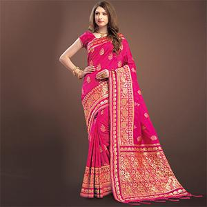 Hot Pink Colored Designer Festive Wear Woven Banarasi Silk Saree