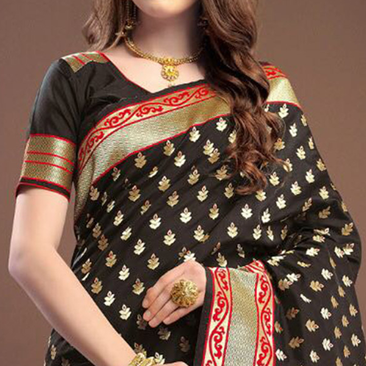 Majesty Black Colored Designer Festive Wear Woven Banarasi Silk Saree
