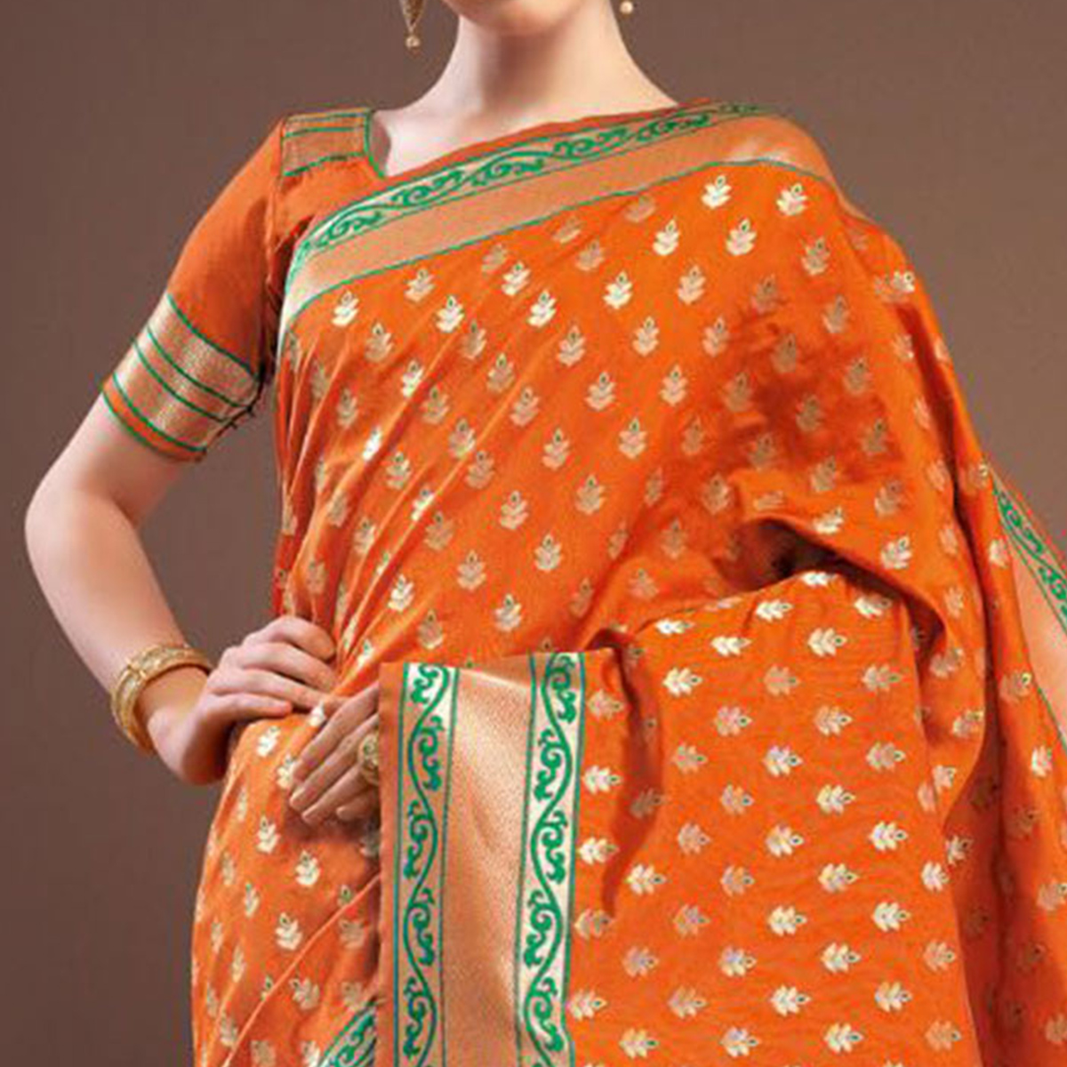 Ravishing Orange Colored Designer Festive Wear Woven Banarasi Silk Saree
