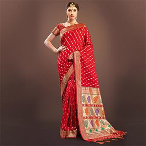 Sensational Red Colored Designer Festive Wear Woven Banarasi Silk Saree