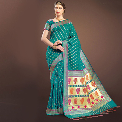 Mystic Teal Colored Designer Festive Wear Woven Banarasi Silk Saree