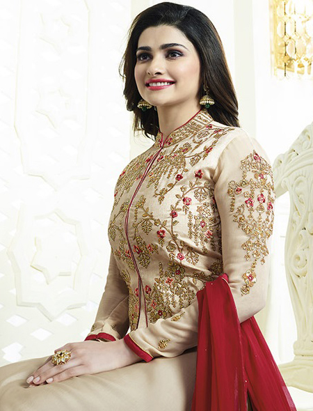 Beige Jacket Style Embroidered Suit