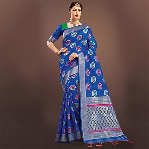 Ethnic Royal Blue Colored Designer Festive Wear Woven Banarasi Silk Saree