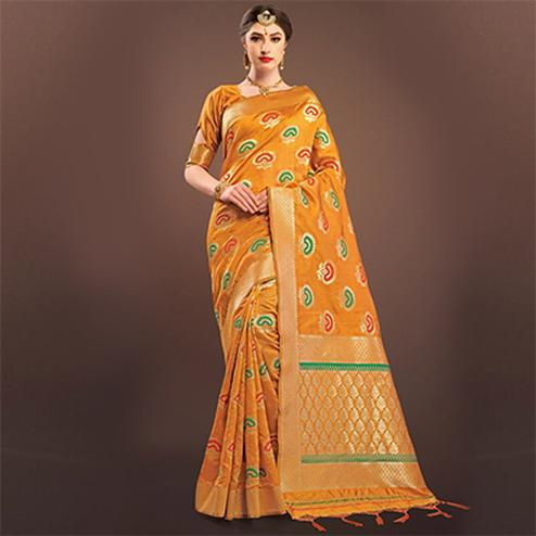 Glorious Yellow Colored Designer Festive Wear Woven Banarasi Silk Saree