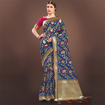 Catchy Navy Blue Colored Designer Festive Wear Woven Banarasi Silk Saree