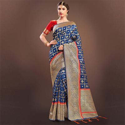 Impressive Navy Blue Colored Designer Festive Wear Woven Banarasi Silk Saree