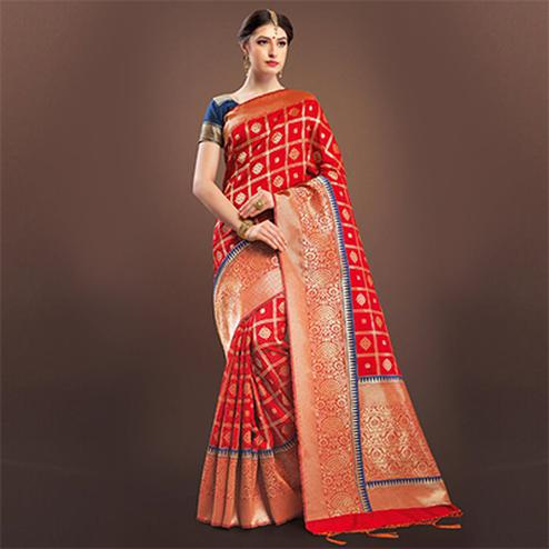 Stylish Red Colored Designer Festive Wear Woven Banarasi Silk Saree