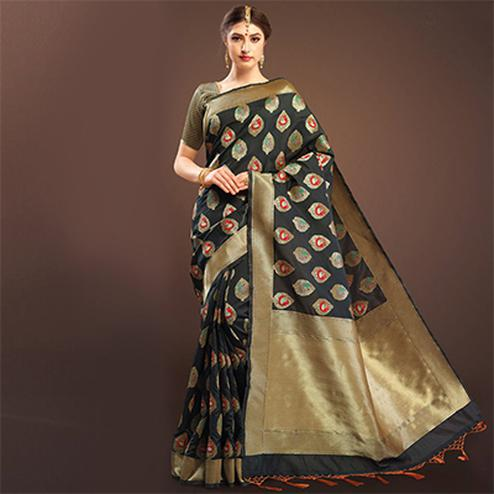 Elegant Black Colored Designer Festive Wear Woven Banarasi Silk Saree