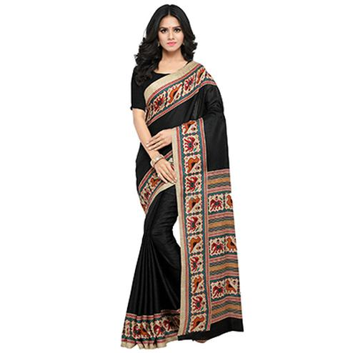 Black Casual Wear Printed Manipuri Silk Saree