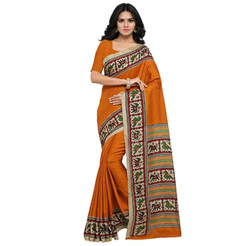 Orange Casual Wear Printed Manipuri Silk Saree