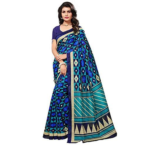 Turquoise - Blue Casual Wear Printed Bhagalpuri Silk Saree