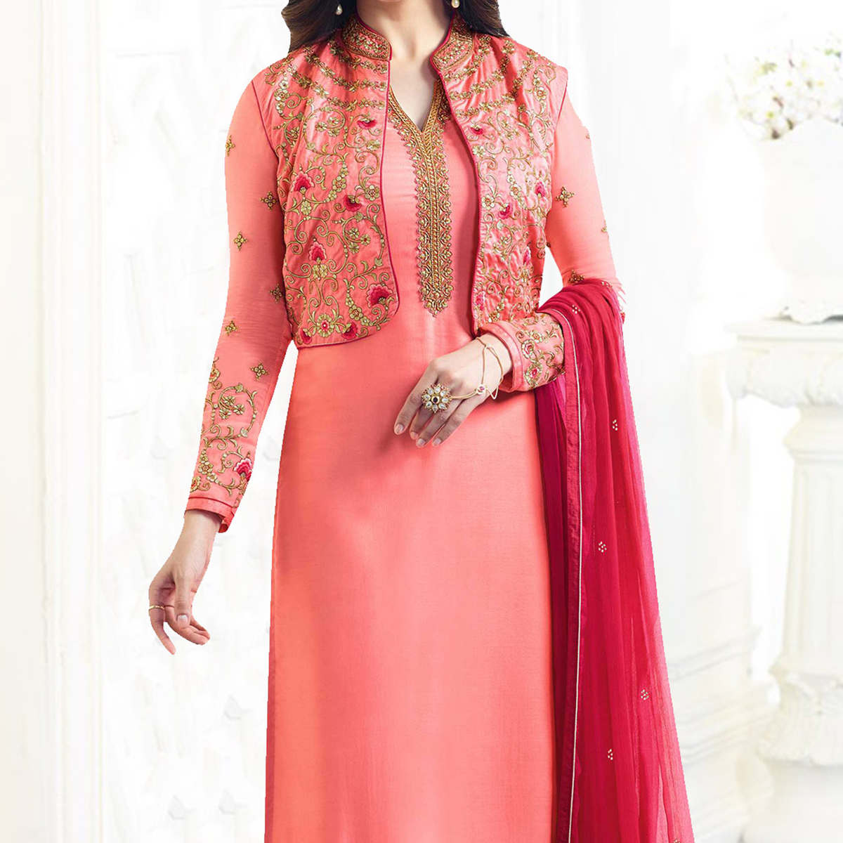 Peach Georgette Embroidered Jacket Suit