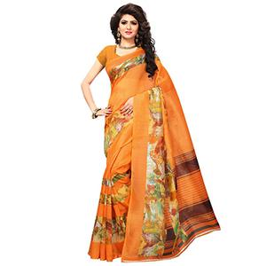 Orange Casual Wear Printed Bhagalpuri Silk Saree