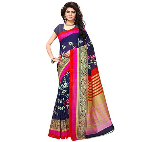 Navy Blue Casual Wear Printed Bhagalpuri Silk Saree