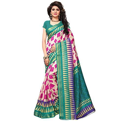 Offwhite Casual Wear Printed Bhagalpuri Silk Saree