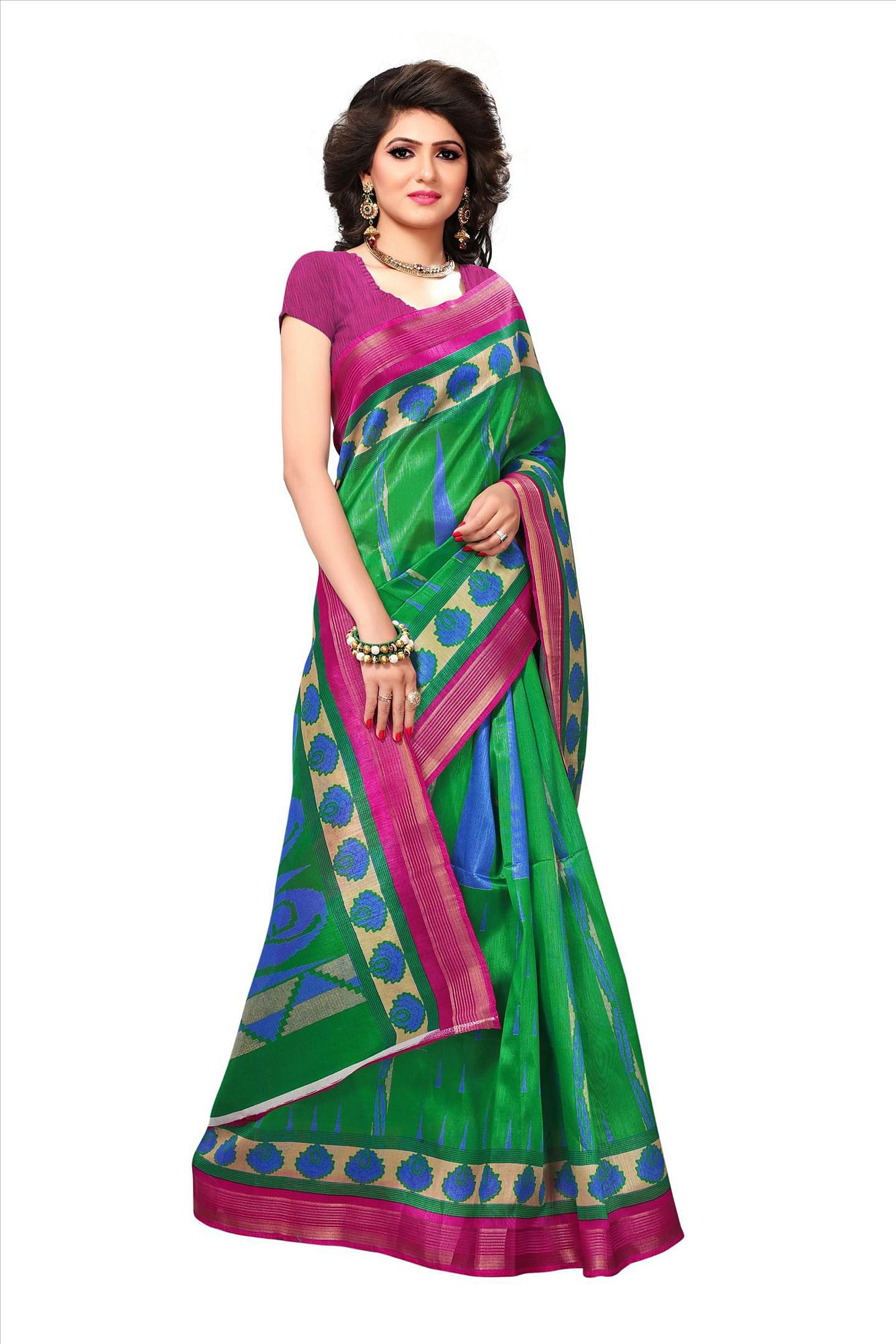 Green Casual Wear Printed Bhagalpuri Silk Saree