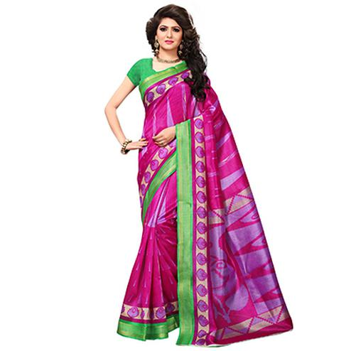 Deep Pink Casual Wear Printed Bhagalpuri Silk Saree