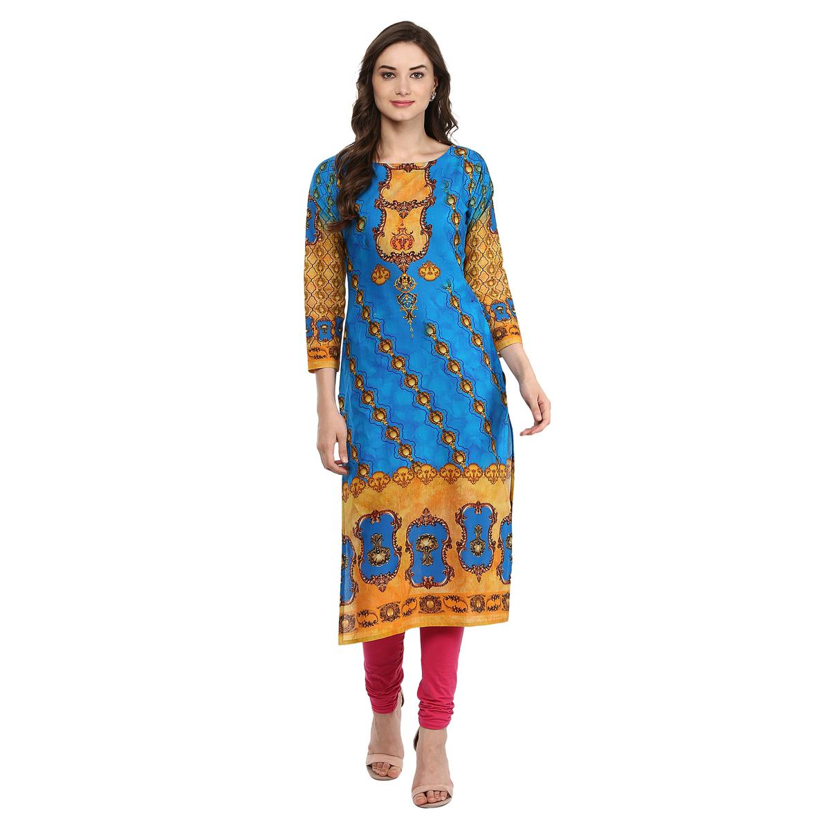 AHALYAA - Blue Colored 3/4th Sleeve And Boat Neck Cotton Kurti