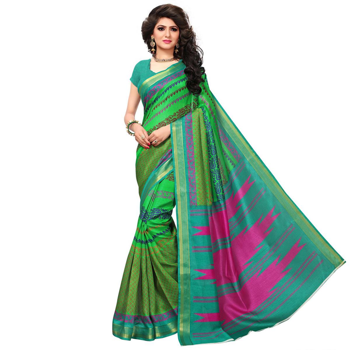 Light Green Casual Wear Printed Bhagalpuri Silk Saree