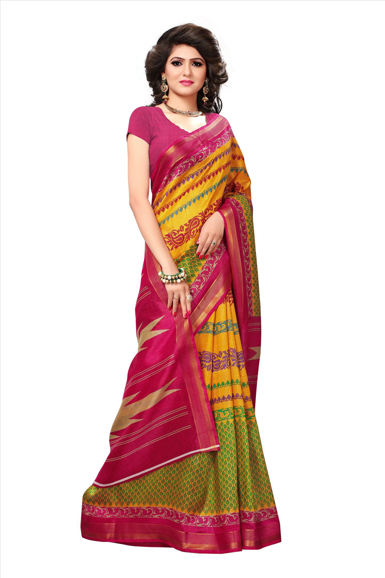Orange - Pink Casual Wear Printed Bhagalpuri Silk Saree