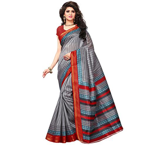 Grey Casual Wear Printed Bhagalpuri Silk Saree