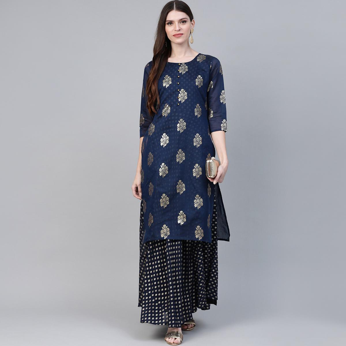 AHALYAA - Navy Blue Colored Chanderi Kurti Attached with Gown