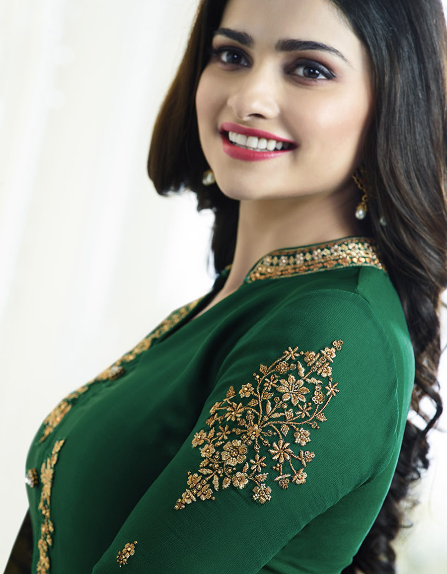 Dark Green Georgette Embroidered Suit