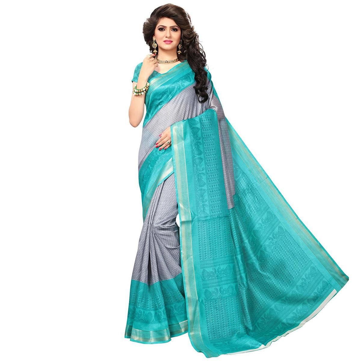 Grey-Turquoise Casual Wear Printed Bhagalpuri Silk Saree