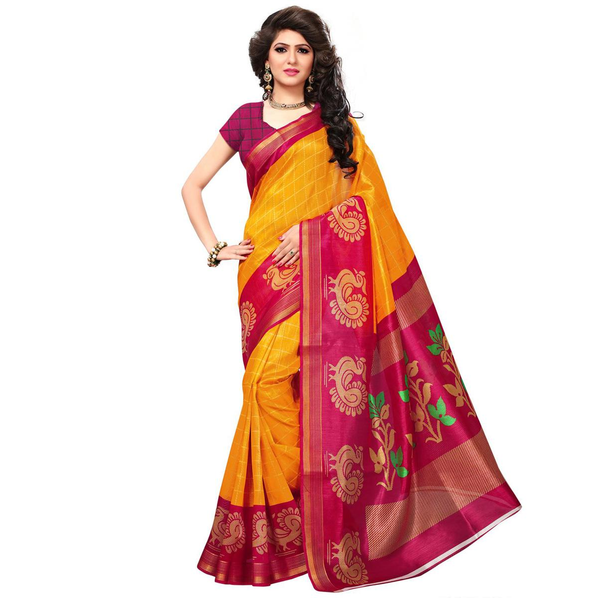 Orange Festive Wear Bhagalpuri Silk Saree